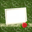 Card for congratulation or invitation with red rose and hearts — Stok fotoğraf
