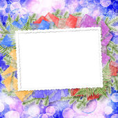 Abstract blur boke background with paper frame and bunch of twig — Stock Photo