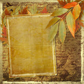 Grunge papers design in scrapbooking style with foliage and blan — Stock Photo