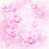 Card for invitation or congratulation with orchids and bow — Stock Photo