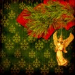 Angel christmas hanging on the pine branch. - Zdjęcie stockowe