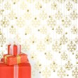 Holiday gift boxes decorated with bows and ribbons on the bright — Stock Photo #7925362