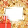 Holiday gift boxes decorated with bows and ribbons on the bright — Stock Photo