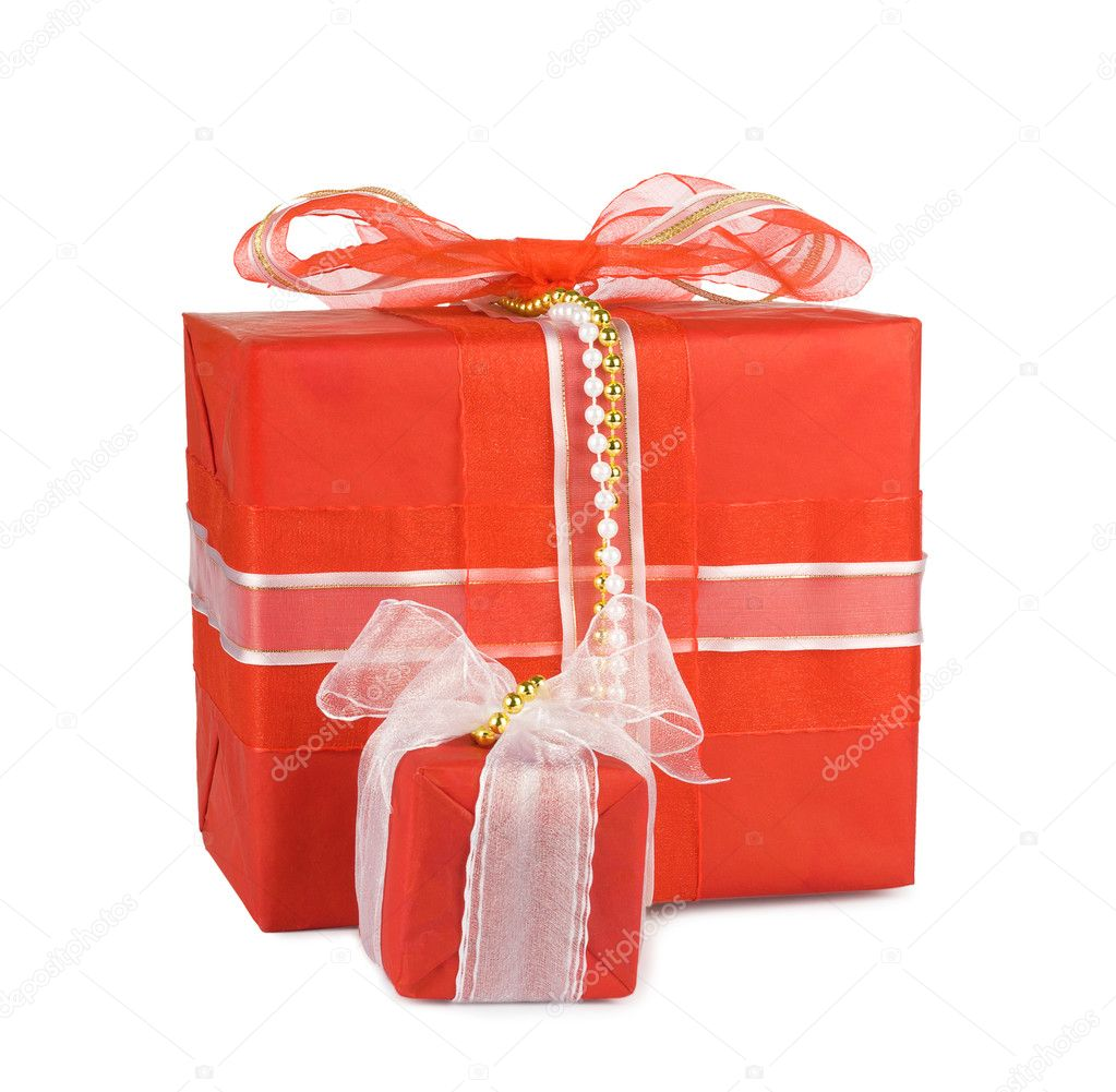 Holiday gift boxes decorated with bows and ribbons isolated on white background — Stock Photo #7921981