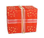 Holiday gift boxes decorated with bows and ribbons isolated on w — Stock fotografie