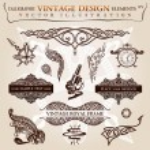 Calligraphic elements vintage tattoo. Vector frames symbols — Stock Vector