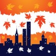 Autumn in the city - Stock Vector