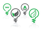 Environment green light bulb icons — Cтоковый вектор