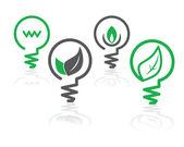 Icônes d'ampoule feu vert environnement — Vecteur