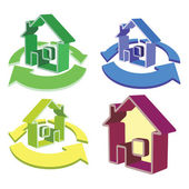 House and cycled arrows icons — Stock Vector
