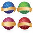 Planet globes in golden ribbons - Stock Vector