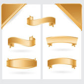 Golden ribbons and corners — Stock Vector
