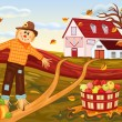 Autumn harvesting at the farm - Stock Vector