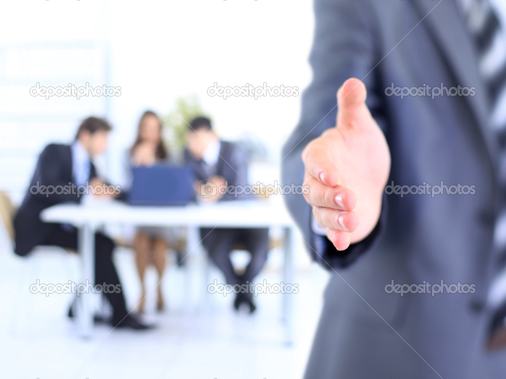 Photo of handshake of business partners after signing promising contract  — Stock Photo #7249057