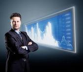 Schéma de l'homme d'affaires et bleu — Photo