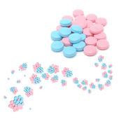 творческие голубые и розовые таблетки — Стоковое фото