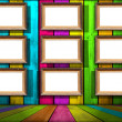 Nine Blank Frames in Multicolored Wooden Room — Stock Photo