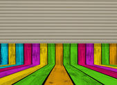 Empty Wooden Room Half Closed with Rolling Shutters — Stock Photo