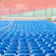 Blue Empty Plastic Chairs at the Stadium — Stock Photo