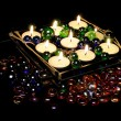 Burning Romantic Candles in Candle Holder - Foto Stock