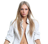 Sexy young woman in white shirt — Stock Photo