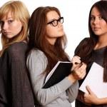 Three girls study documents — Stock Photo #7953868