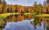Autumn Lake Panoramic — ストック写真