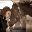 Stock Photo: Young woman with horse