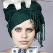 Stock Photo: Girl with money
