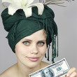 Smile of the girl with money — Stock Photo