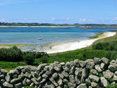 St Martins dry stone wall and middle town beach, Isles of Scilly. — Stock Photo