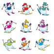 Set fun snowman skier — Stock Vector