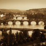 View at The Charles Bridge and Vltava river, Sepia — Stock Photo