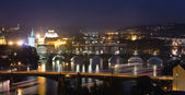Night View at The Charles Bridge and Vltava river — Stock Photo