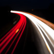 Blurred Night time traffic lights, abstract — Stock Photo
