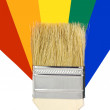 Royalty-Free Stock Photo: Paint brush laying on a heap of color samples