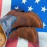 botas de vaquero y sombrero de paja — Foto de Stock