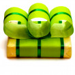 Green Gift Box with Green Ribbon — Stock Photo