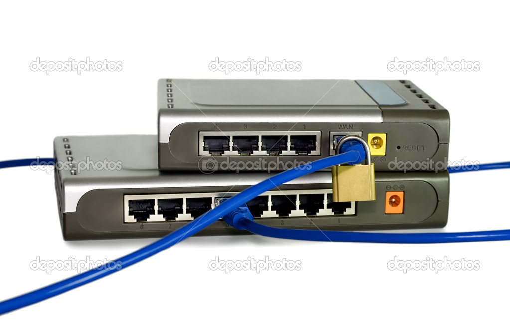 Network cables is run through a lock connected to switch or router concepts isolated on white background — Stock Photo #6750921