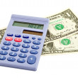 Calculator on dollars — Stock Photo