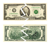 Torn Ripped Money Two Dollar — Stock Photo