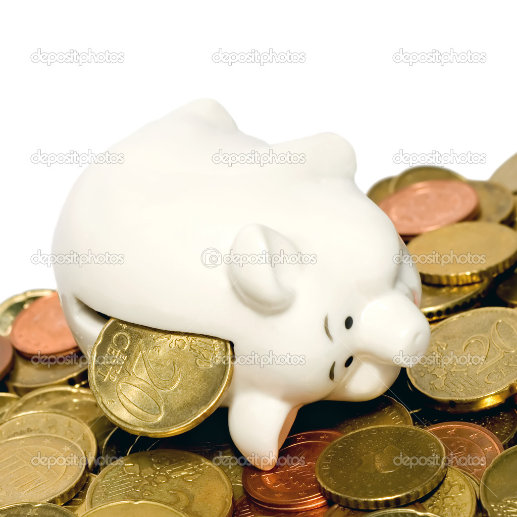 Coins piggy bank isolated on white background — Stock Photo #6850340