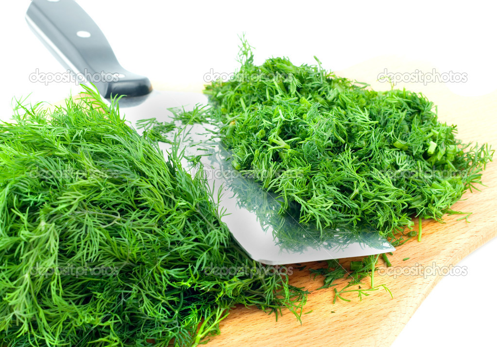 Dill herb cut ,isolated on green background  Stock Photo #6850358