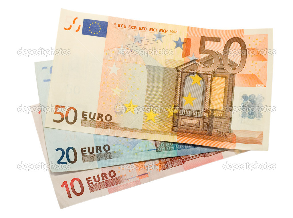 Euro banknotes isolated on white background  Stock Photo #6850364