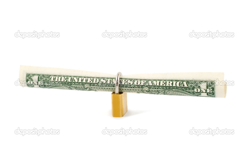 Protection dollar in golden lock close-up isolated on white background — Zdjęcie stockowe #6850487