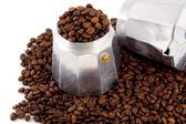Espresso coffee bean set coffee-maker — Stock Photo