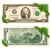 Two dollar bill gift — Stock Photo