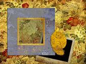 рамка искусства на фоне цветочные обои — Стоковое фото