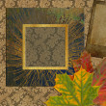 Art frame on floral wallpaper background — Stock Photo #6843315