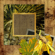 Art frame on floral wallpaper background — Stock Photo
